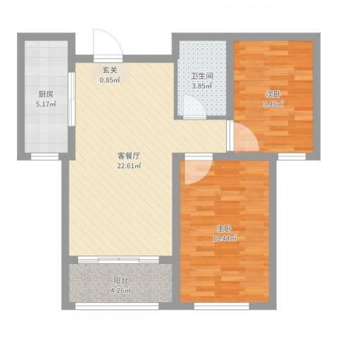 万豪华庭公馆2室2厅1卫1厨73.00㎡户型图