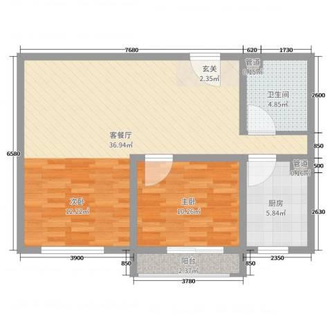 泰丰 时代城二期1室2厅1卫1厨76.00㎡户型图
