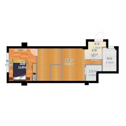 中河名庭1室2厅1卫1厨55.00㎡户型图