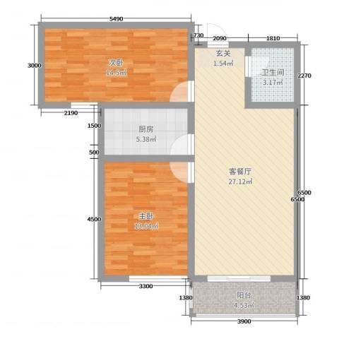 新东亚城市花园2室2厅1卫1厨94.00㎡户型图