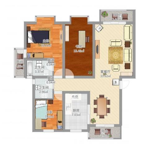 和兴花园3室2厅2卫1厨112.00㎡户型图