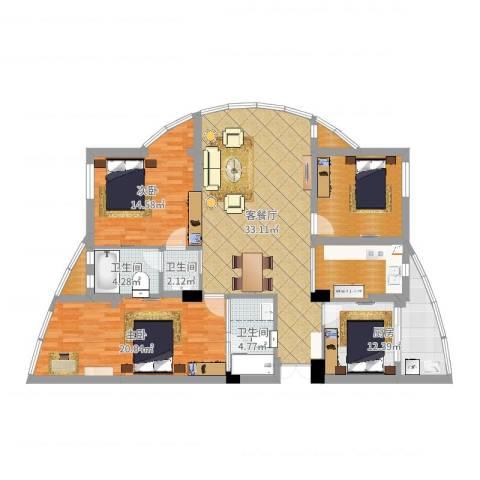 北岸琴森2室2厅3卫1厨137.00㎡户型图