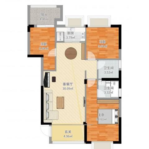 金丰花园3室2厅2卫1厨103.00㎡户型图