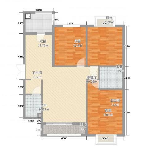 御润国际豪庭3室2厅2卫1厨125.00㎡户型图