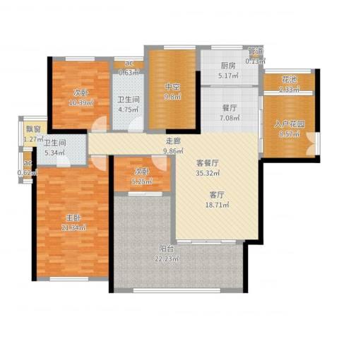 珑湖湾东岸3室2厅2卫1厨165.00㎡户型图