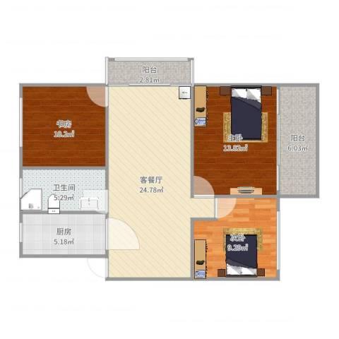 盛星苑3室2厅1卫1厨97.00㎡户型图