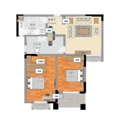 香格里拉2室2厅1卫1厨114.00㎡户型图