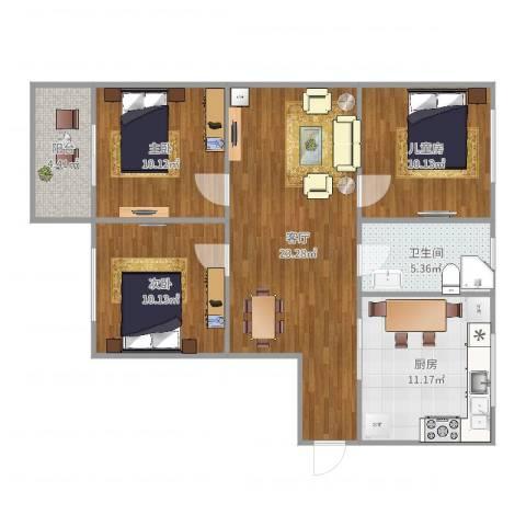 盛星苑3室1厅1卫1厨93.00㎡户型图