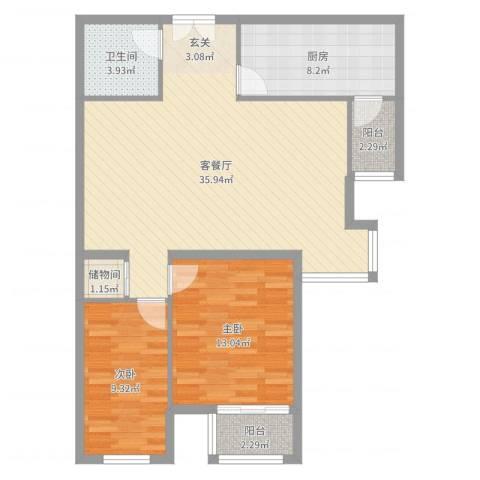 文鼎轩2室2厅1卫1厨95.00㎡户型图