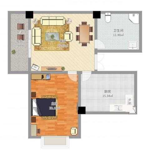 新浪琴湾1室1厅1卫1厨106.00㎡户型图