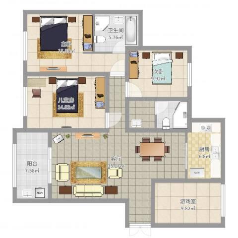 金鹰国际公馆3室1厅1卫1厨139.00㎡户型图