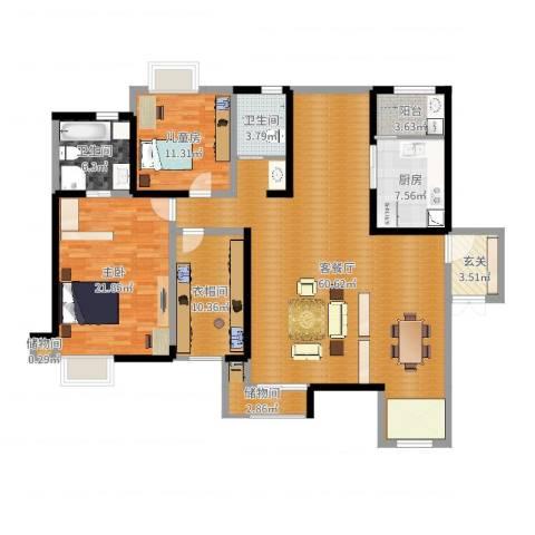 华润凤凰城三期2室2厅3卫1厨165.00㎡户型图