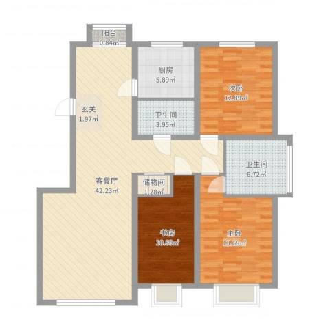 武夷嘉园3室2厅2卫1厨123.00㎡户型图