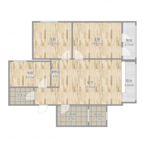 红居街10号院3室1厅1卫1厨99.00㎡户型图