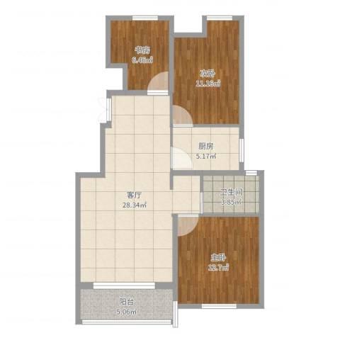 中粮南桥半岛3室1厅1卫1厨91.00㎡户型图