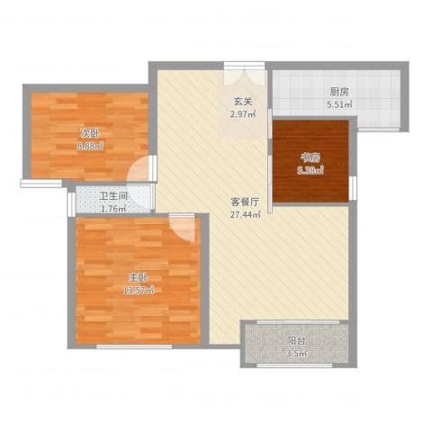 万成香格里拉3室2厅1卫1厨83.00㎡户型图