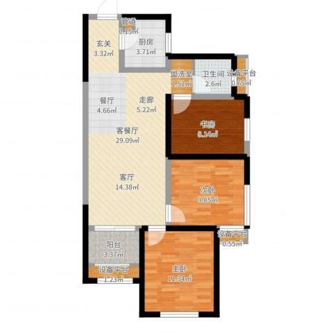 中铁缇香郡3室2厅1卫1厨88.00㎡户型图