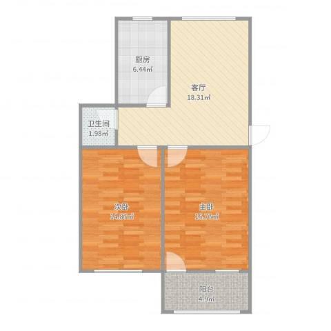 建设路单位宿舍2室1厅1卫1厨78.00㎡户型图