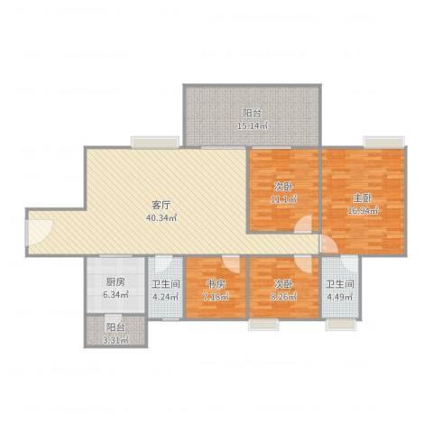 富和名都二期4室1厅2卫1厨117.34㎡户型图