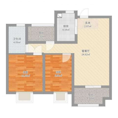 保利梧桐语2室2厅1卫1厨77.00㎡户型图