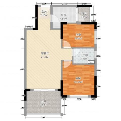 光大锦绣山河2室2厅1卫1厨78.00㎡户型图