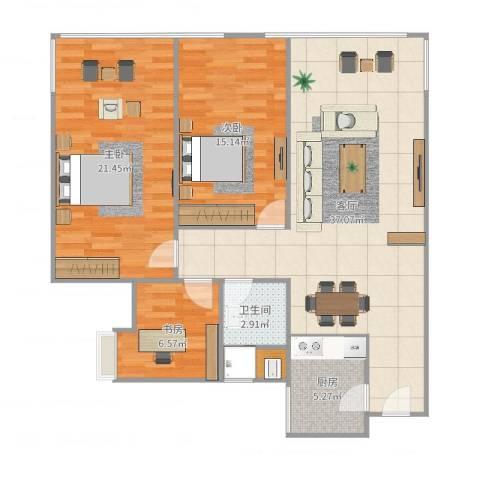 金科公园王府3室1厅1卫1厨112.00㎡户型图