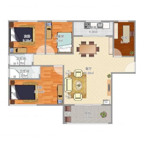 云山熹景4室1厅2卫1厨103.00㎡户型图