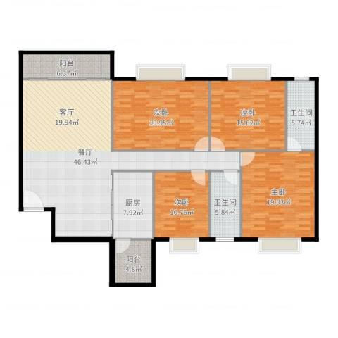 铂顿国际公寓4室1厅2卫1厨178.00㎡户型图