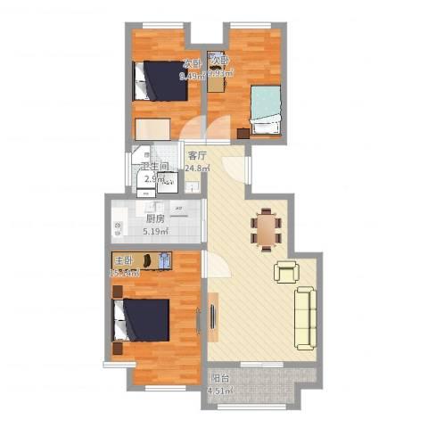 塞纳荣府别墅3室1厅1卫1厨104.00㎡户型图