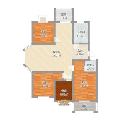 北景园4室2厅2卫1厨117.00㎡户型图