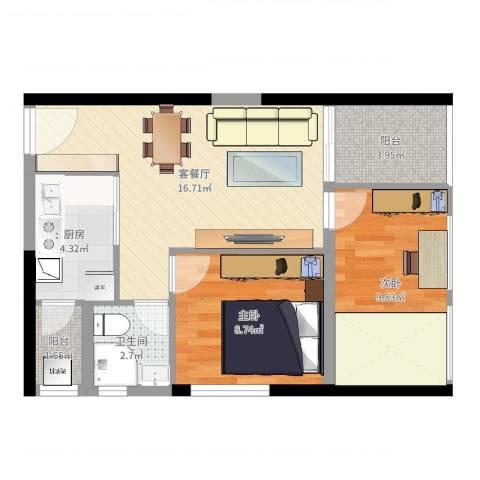 中梁v城市2室2厅1卫1厨60.00㎡户型图