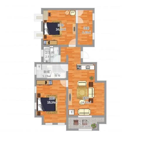 塞纳荣府别墅3室1厅1卫1厨105.00㎡户型图