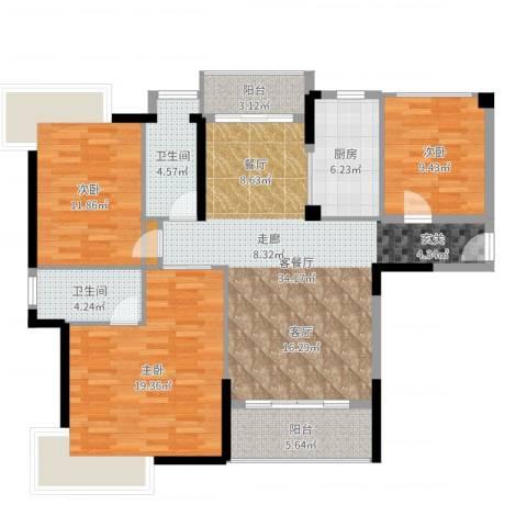 宇丰名苑3室2厅2卫1厨124.00㎡户型图