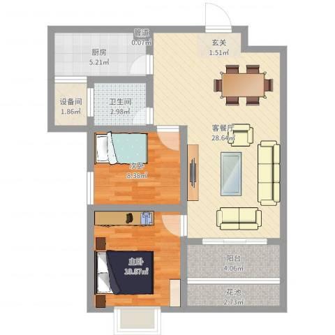 富雅锦园2室2厅1卫1厨81.00㎡户型图