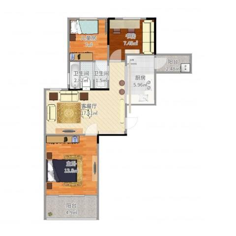 松江泗泾3室2厅2卫1厨79.00㎡户型图
