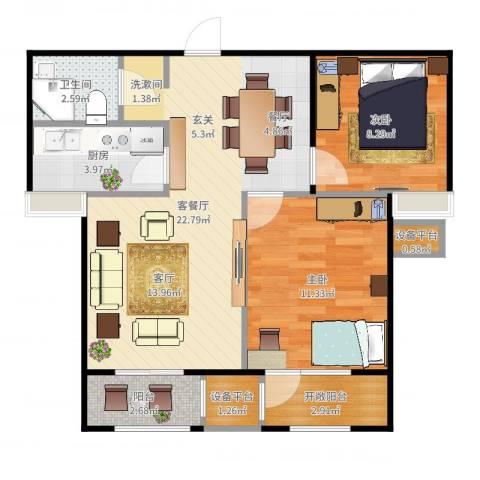 世纪学庭2室2厅1卫1厨71.00㎡户型图