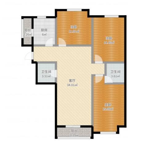 亿丰・南奥国际3室1厅2卫1厨119.00㎡户型图