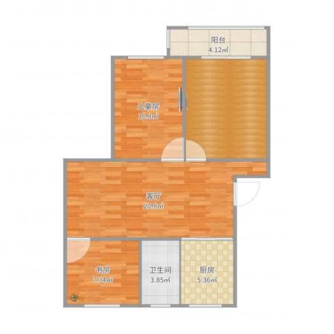 现代花园2室1厅1卫1厨82.00㎡户型图