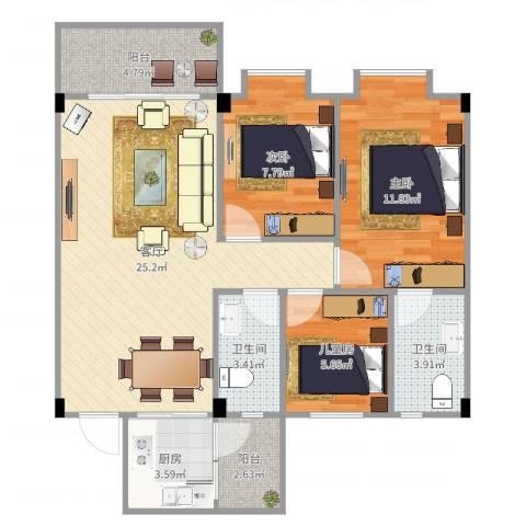东海湾3室1厅2卫1厨86.00㎡户型图