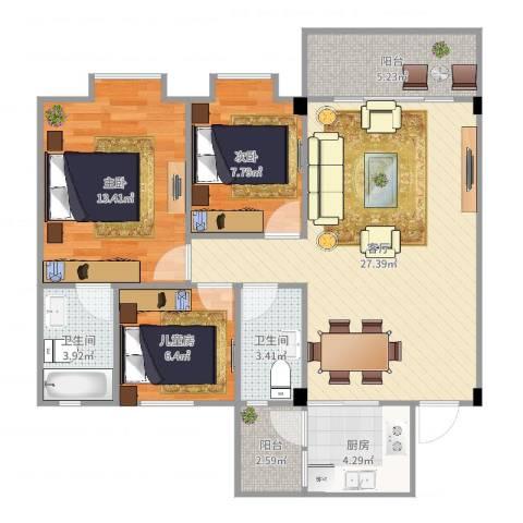 东海湾3室1厅2卫1厨93.00㎡户型图