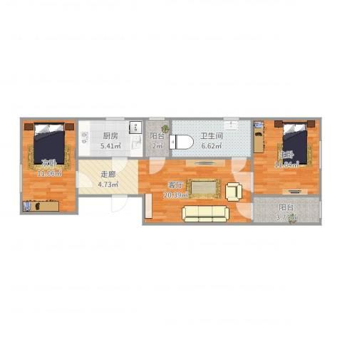 田村39号院2室1厅1卫1厨75.00㎡户型图
