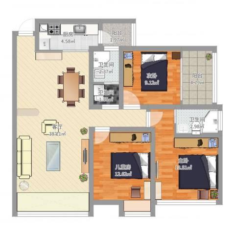 正和城3室1厅3卫1厨115.00㎡户型图