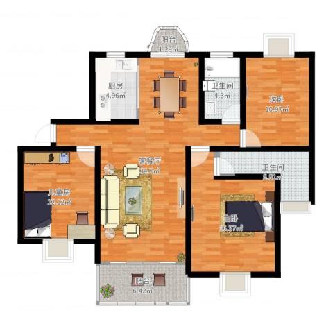 琨城帝景园3室2厅2卫1厨121.00㎡户型图