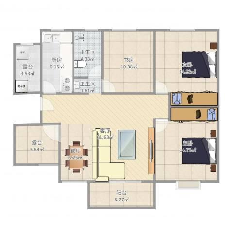 世纪之门3室1厅1卫1厨121.00㎡户型图