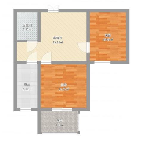 弘达明尚2室2厅1卫1厨62.00㎡户型图