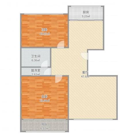 白鹤花苑2室3厅1卫1厨137.00㎡户型图