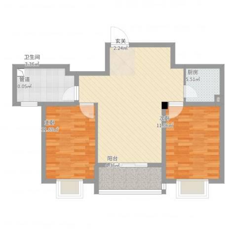 宝恒水木清华2室2厅1卫1厨90.00㎡户型图