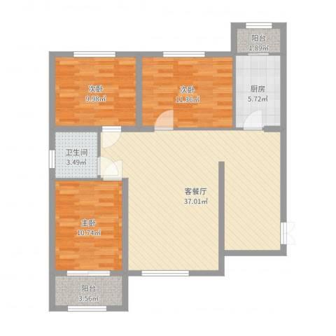 百合世纪城3室2厅1卫1厨105.00㎡户型图