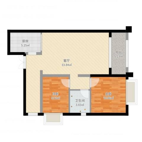 高盛金融中心2室1厅1卫1厨84.00㎡户型图