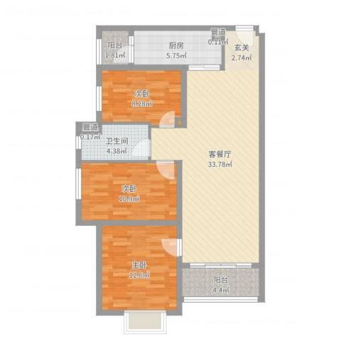君华硅谷22栋03/04单位-现代简约-极客系列106㎡3室2厅1卫1厨103.00㎡户型图